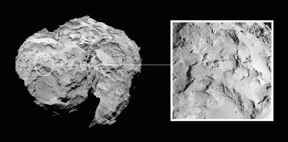 محل اصلی تعیین شده برای فرود کاوشگر فیلای بر سطح دنباله دار