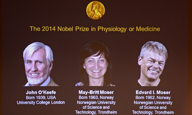 جایزه ی نوبل پزشکی 2014 بدلیل کشف سیستم GPS مغز به ادوارد موزر ،میبریت موزر و جان اُکیف رسید.(از راست به چپ)