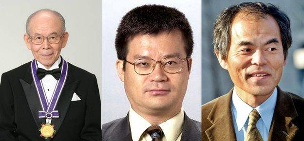تصویری از برندگان جایزه نوبل فیزیک 2014 از چپ به راست: اساتید آکاساکی، آمانو و ناکامورا