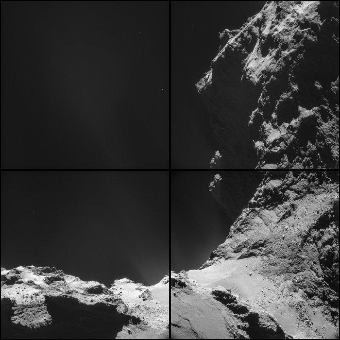 تصویری چهار تکه از دنباله دار 67P که در تاریخ 18 اکتبر از فاصله 9.8 کیلومتری مرکز دنباله دار توسط دوربین ناوبری روزتا گرفته شده است.
