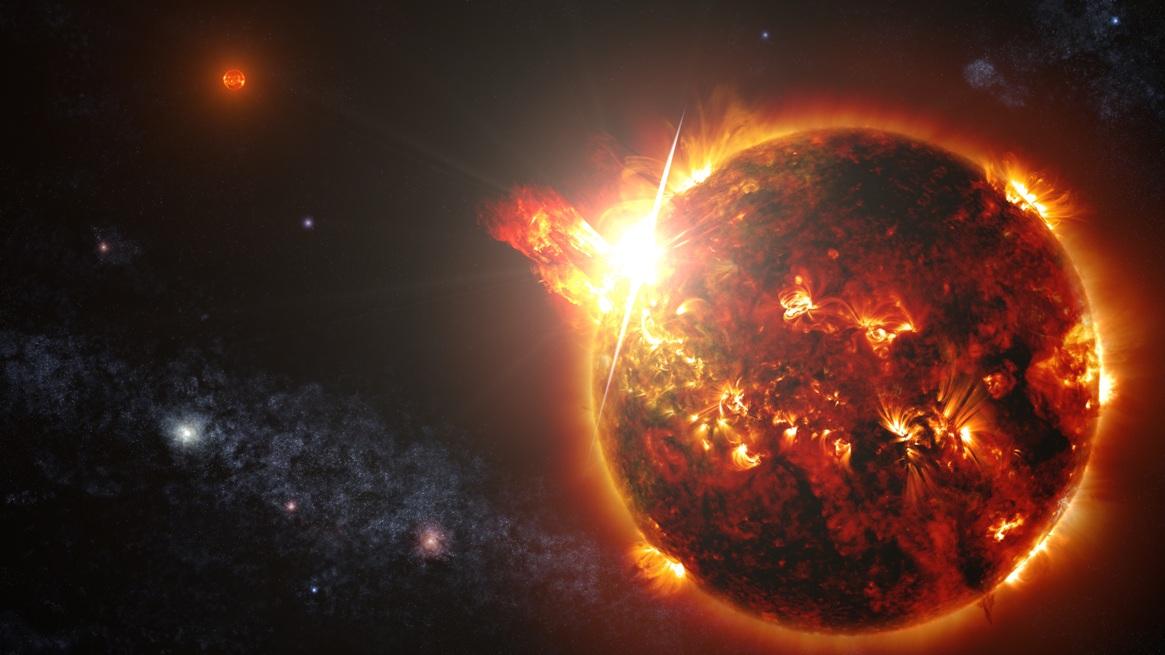 تصویری هنری از ستاره کوتوله قرمزی که این جرقه عظیم را به فضا پرتاب کرده است.