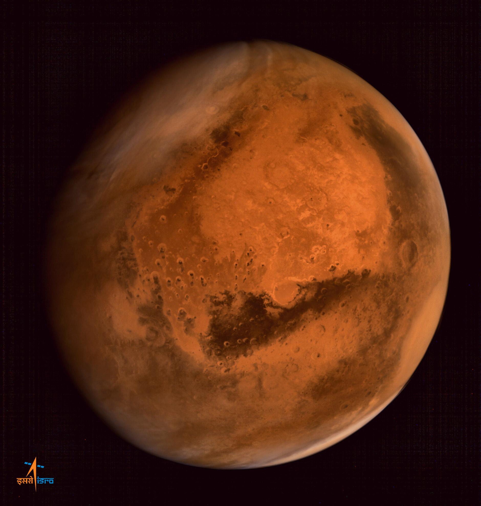 کاوشگر مانگالیان از دوربین رنگی خود برای گرفتن این تصویر در فاصله 74500 کیلومتری از سطح سیاره استفاده کرده است.