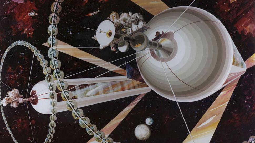 تصویری هنری از سکونتگاه فضایی استوانه ای دو قلوی اونیل که در سال 1970 برای مستعمره های فضایی ارائه شد.