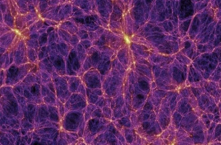 این تصویر شبیه سازی ساختار بزرگ مقیاس ماده در کیهان و توزیع ابر خوشه های کهکشانی را نشان می دهد.