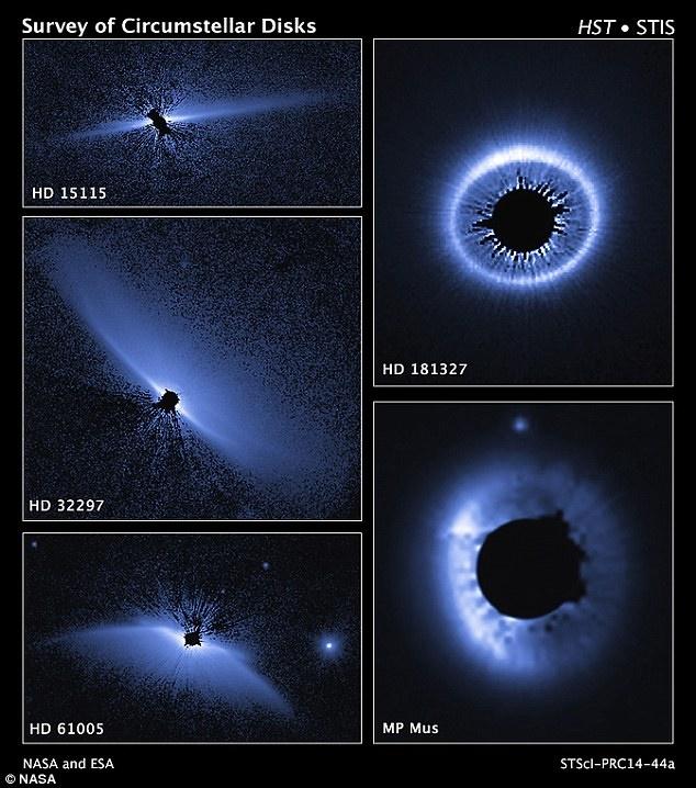 این مجموعه ای از تصاویر تلسکوپ فضایی هابل که در نور مرئی گرفته شده معماری سیستم های باقی مانده در اطراف ستاره های جوان را نشان می دهد.