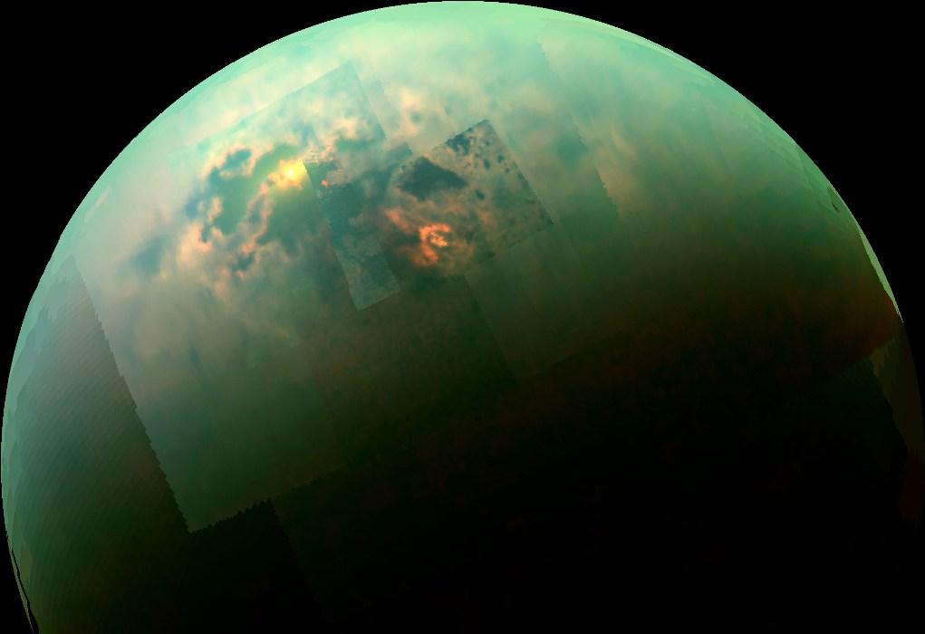تصویری از درخشش نور خورشید در دریاچه های هیدروکربنی تیتان قمر زحل