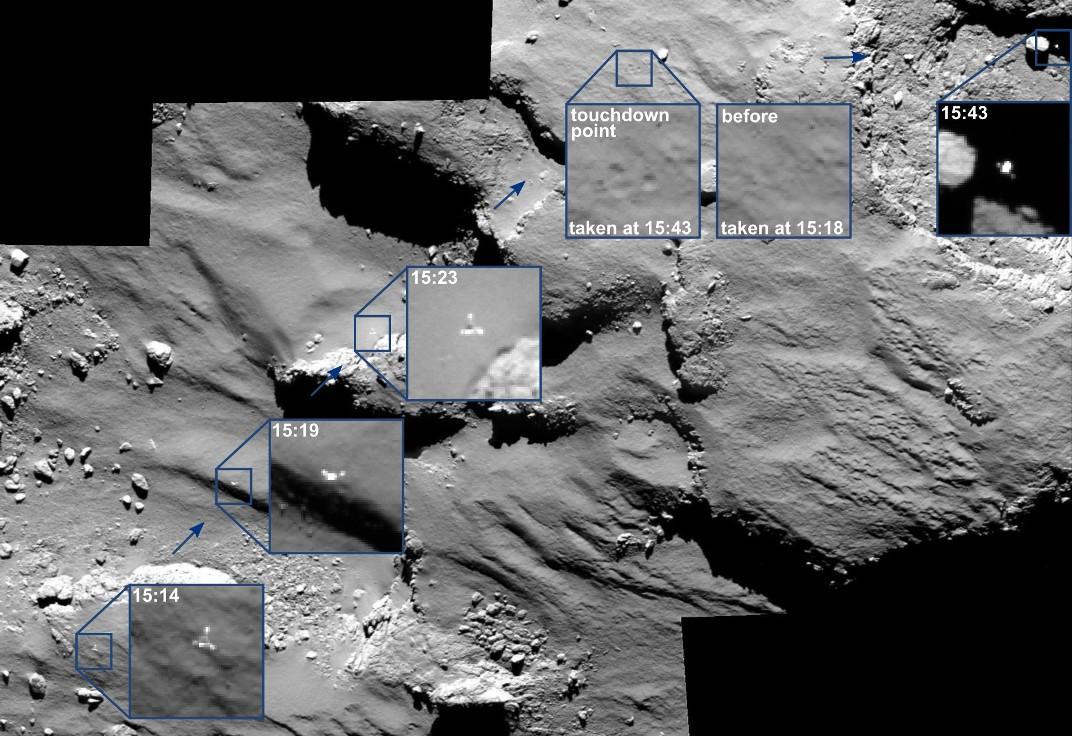 تصاویری از چگونگی فرود چالشبرانگیز و عجیب کاوشگر فیلای بر سطح دنبالهدار