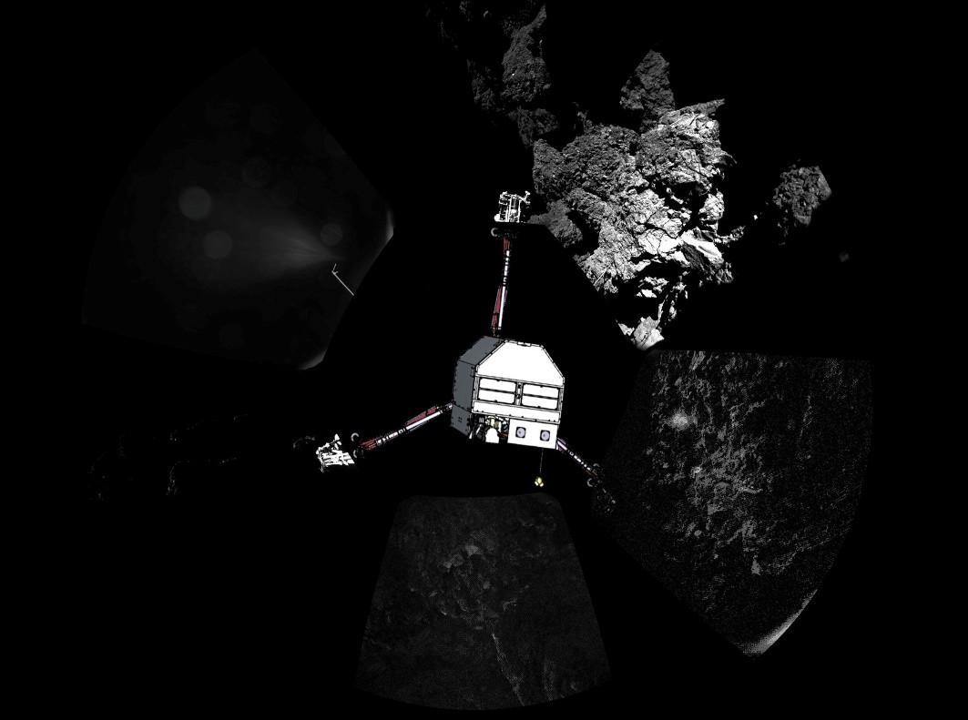 تصویری پانوراما از سطح دنباله دار که محل قرار گیری فیلای هم اضافه شده است.