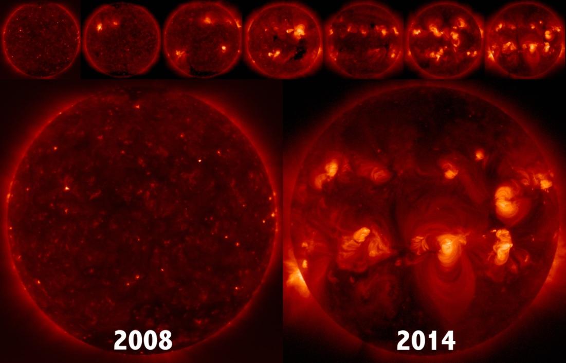 تصویری از خورشید آرام سال 2008 و خورشید نا آرام 2014 در اوج فعالیت