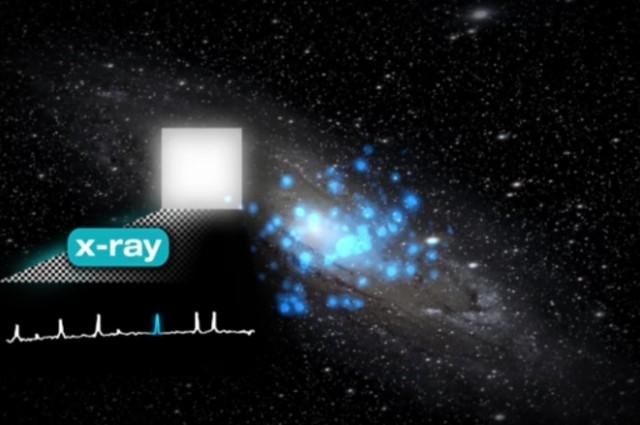 ذرات ساتع شدۀ مرموز از کهکشان آندرومدا که می تواند نشانه ای از ماده تاریک باشد.