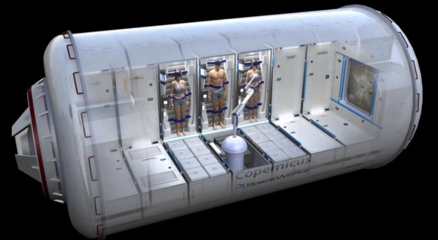 تصویری هنری از کپسولی که فضانوردان را در حالت خواب عمیق قرار می دهند.