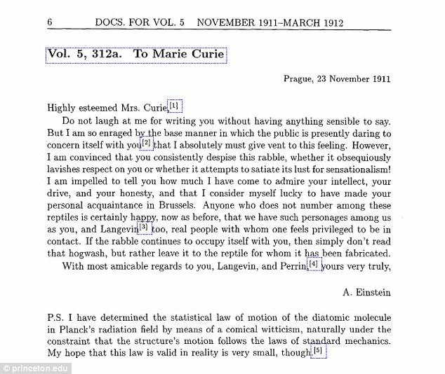 تصویری از نامه تازه منتشر شدۀ آلبرت اینشتین به ماری کوری