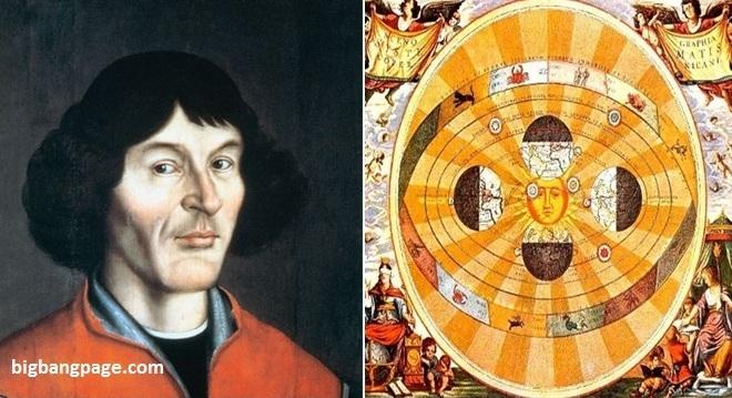 تصویری از نیکلاس کوپرنیک و مدل تاریخی خورشید مرکزی، بطوریکه خورشید در مرکز تصویر جای دارد و زمین در مراحل مختلف گردش خود به گرد خورشید نشان داده شده است.