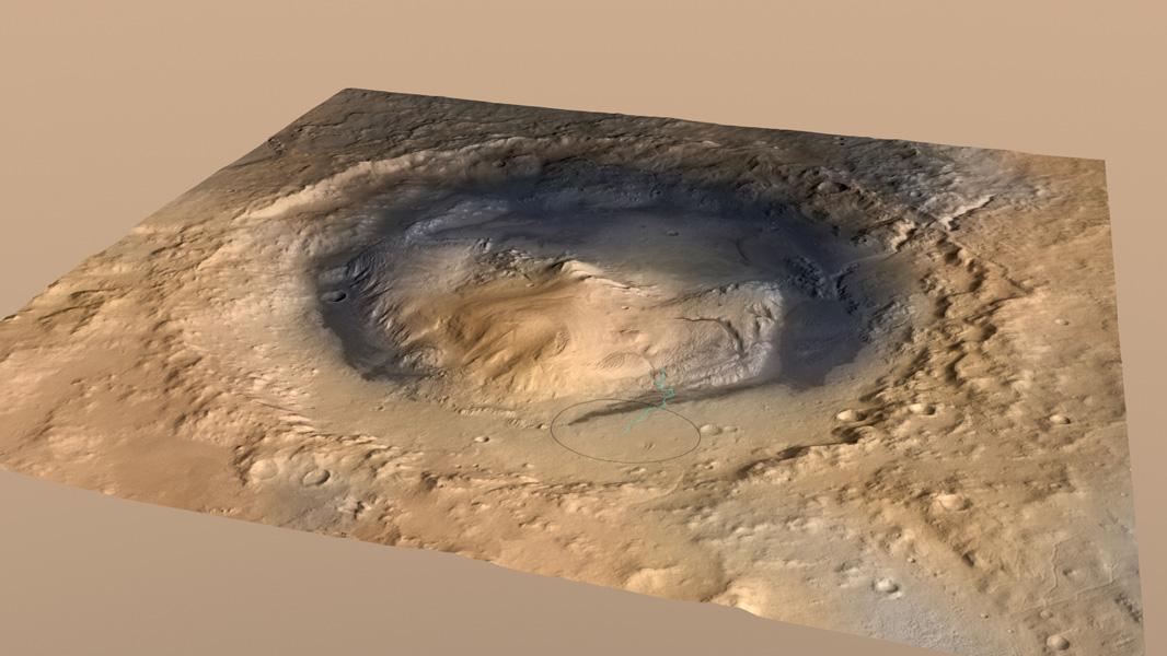 کاوشگر کنجکاوی، در اکتبر ۲۰۱۲ برای جستجوی سیاره سرخ در این نقطه روی تصویر در نزدیک دامنه ی کوه شارپ فرود آمد.