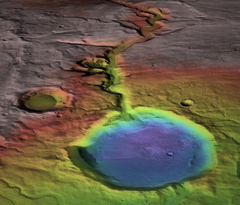 نقشه ای از اثرات و نشانه های رودخانه های باستانی مریخ که از ارتفاعات جاری می شدند.