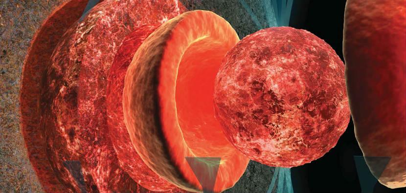 شبیه سازی هسته ی مذاب ماه که در گذشته میدان مغناطیسی قویی در این قمر ایجاد می کرد.