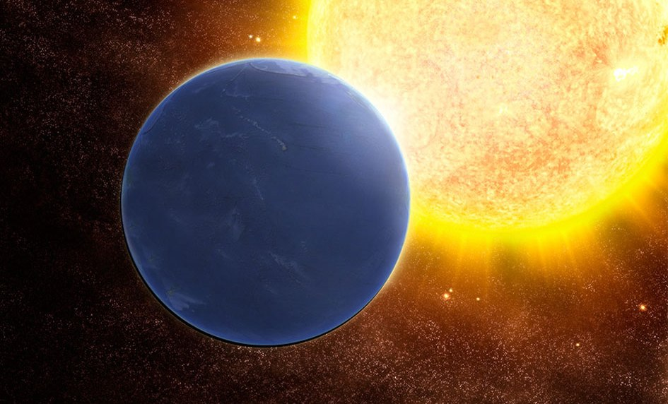 تصویری هنری از یک سیاره فرا خورشیدی مملو از آب