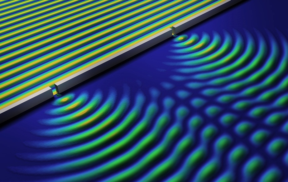 الگوی تداخلی موج و ذره در آزمایش دو شکاف