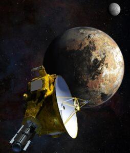 تصویری هنری از فضاپیمای افق های نو در ملاقات با پلوتو