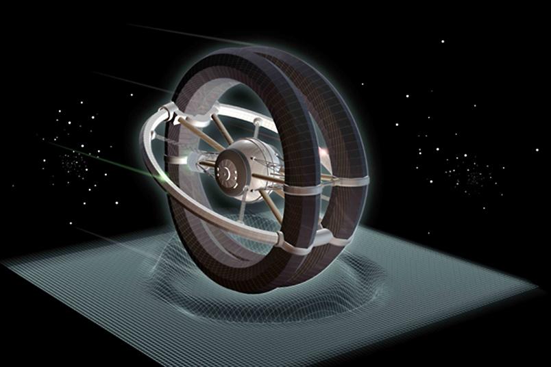 تصویری هنری از خمش فضا-زمان توسط ماشین وارپ که میتواند منجر به سرعتی فرا نوری شود.