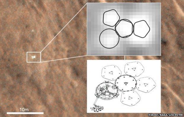 تصویر گرفته شده از مدارگرد مریخ که در آن کاوشگر بیگل 2 را نشان می دهد