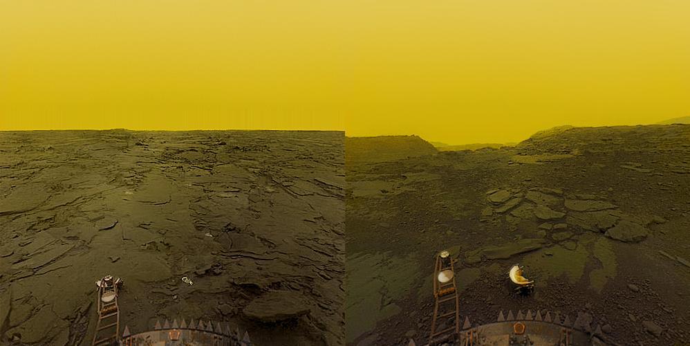 تصویری از سطح ناهید که کاوشگر ونرا 13 به ثبت رسانده است.