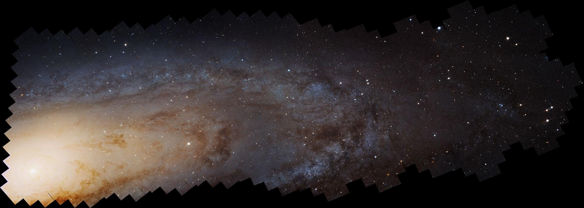 در این عکس که گستردگی به اندازه ی 40 هزار سال نوری دارد بیش از 100 میلیارد ستاره و هزاران خوشه ستاره ای دیده می شود. قطر آندرومدا در حدود 220 هزار سال نوری است.