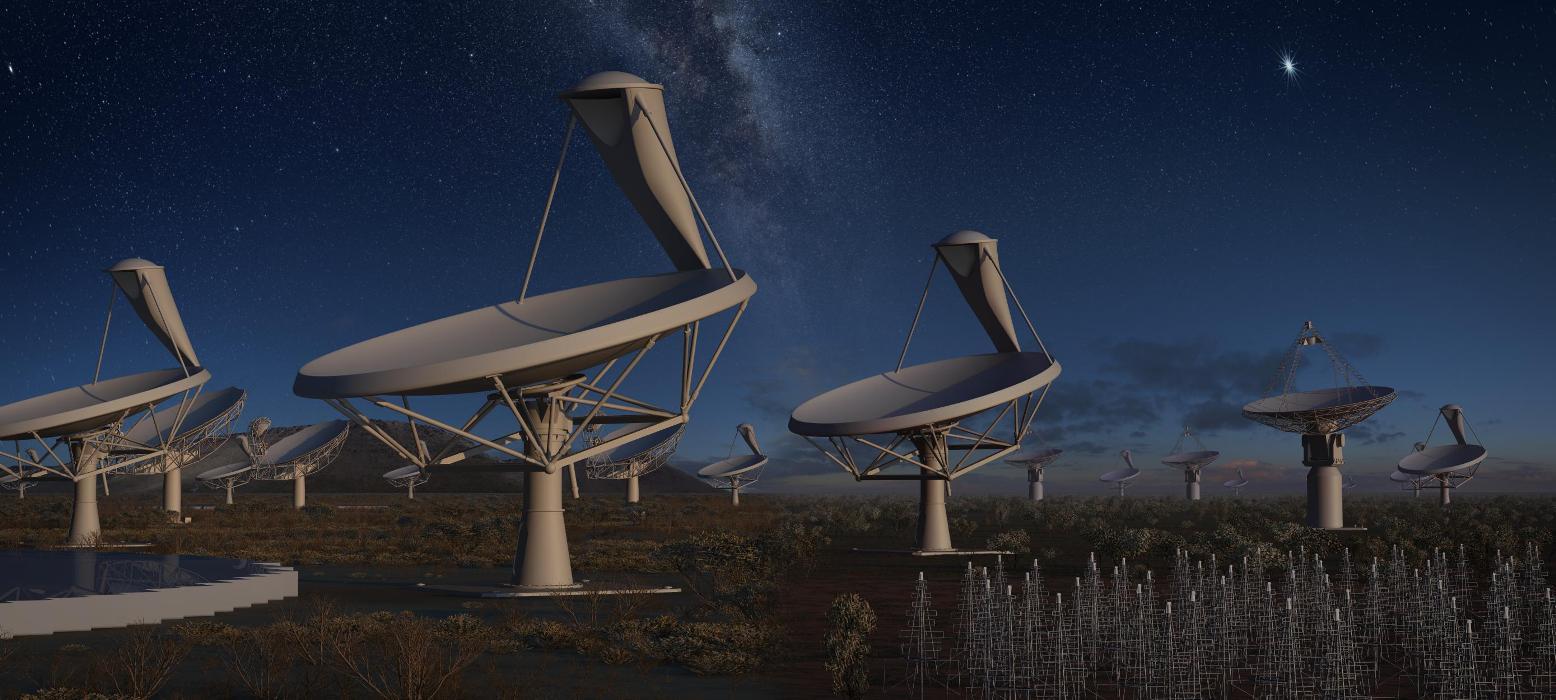 تصویری هنری از آرایۀ تلسکوپ رادیویی یک کیلومتر مربعی که برای تهیه نقشه از کیهان استفاده خواهند شد.