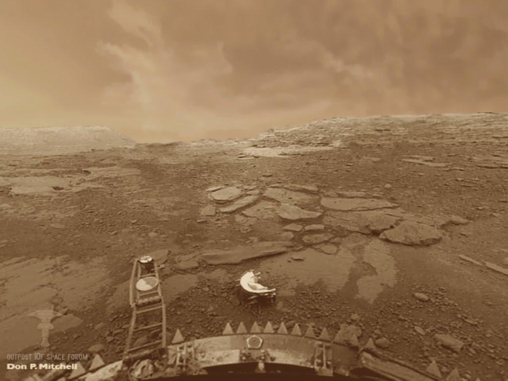 تصویری از سطح ناهید و کلاهک جدا شده دوربین کاوشگر ونرا-13 بر روی سطح این سیاره