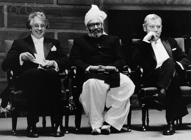 Sheldon Glashow with Abdus Salam and Steven Weinberg