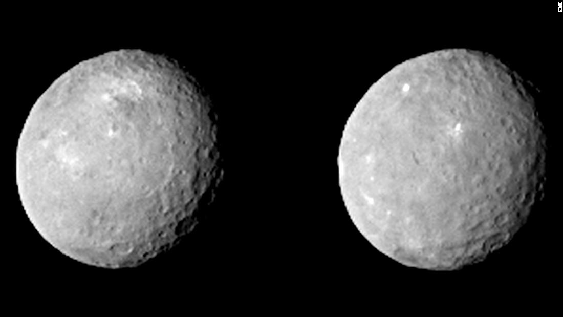 این دو تصویر از سرس را فضاپیمای سپیده دم ناسا در 12 فوریه 2015 از فاصله ی 83000 کیلومتری این سیارۀ کوتوله ثبت کرده است.