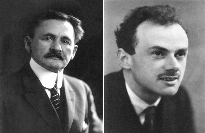 تصویری از پل دیراک سمت راست تصویر و آبراهام مایکلسون سمت چپ تصویر