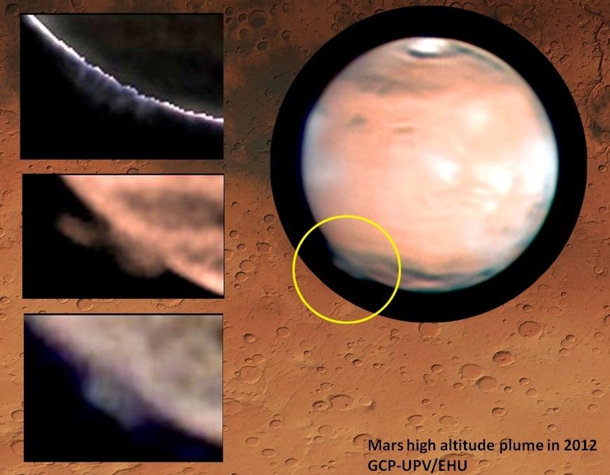 ابرهای عظیم و غیر عادی مریخی بیش از 20 روز در سال 2012 بر فراز سیارۀ سرخ دیده شدند.