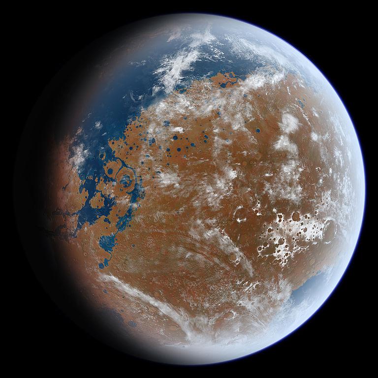 تصویر هنری از مریخ در گذشته دور بر اساس داده های  ژئودزی سیاره