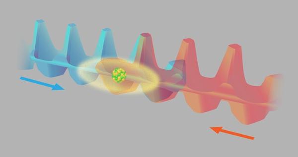 در آزمایشی که توسط روبینز و همکارانش انجام شده٬ یک اتم بزرگ (سزیم) در یکی از دو میدان اپتیکی ممکن حرکت میکند (که به رنگ قرمز و آبی نشان داده شده است). این میدانها پتانسیل متناوبی شبیه «کارتن تخممرغ» دارد. این پژوهشگران اتم سزیم را در برهمنهی از دو حالت اتمی مهیا کردهاند که معادل است با قرار گرفتن همزمان اتم در کارتن اپتیکی آبی و قرمز رنگ. آنها موقعیت اتم را با آشکارسازی فلورسانس آن هنگامی که دو کارتن از هم جدا میشوند تعیین کردهاند.