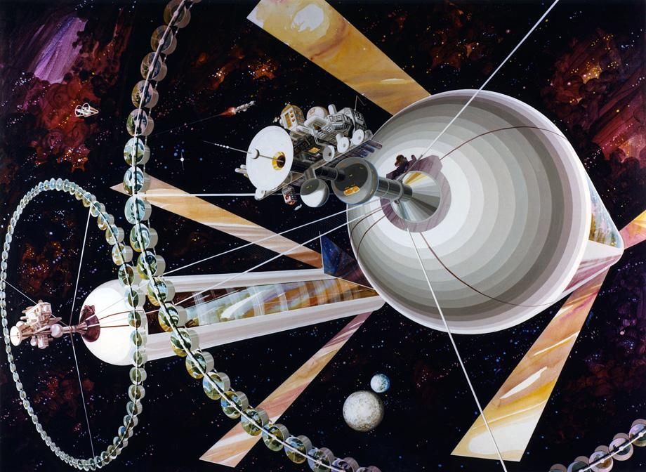 نمای بیرونی سکونت گاه فضایی استوانه ای دو قلوی اونیل