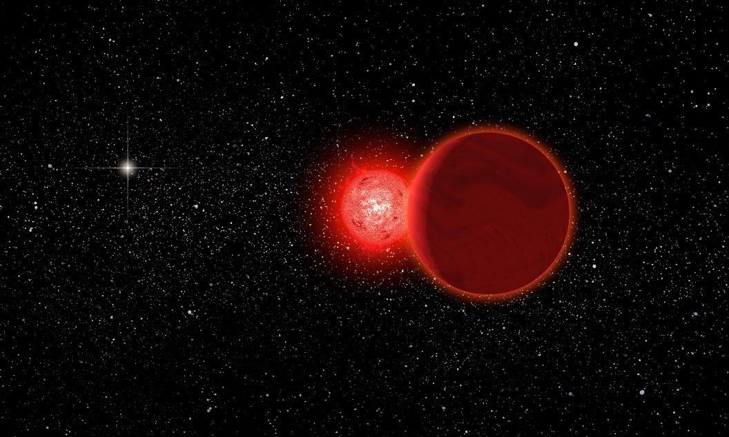تصویری هنری از این سیستم ستاره ای دوتایی