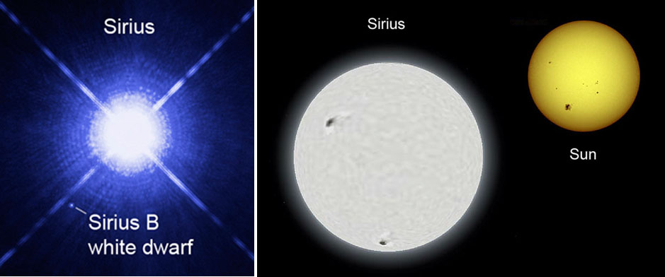در سمت راست تصویر اندازۀ خورشید با شِعرای یمانی مقایسه شده است. در سمت چپ نیز تصویری از ستاره شِعرای یمانی و همدم کوتوله ی سفیدش را می بینید.