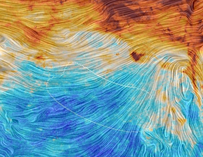 این تصویر از ماهواره پلانک، همان مناطقی که محققان بایسپ۲ مشاهده کرده را نشان  می دهد. طبق اطلاعات پلانک این الگوهای نوری در واقع گرد و غبار کهکشانی هستند، نه نشانه هایی از تورم کیهان.