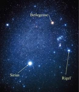 نمایی از ستاره های ابط الجوزا (Betelgeuse)، رجل الجبار (Rigel) و شباهنگ (Sirius)