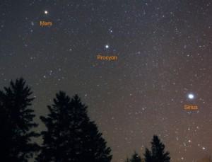 تصویری از ستاره های شِعرای شامی (Procyon) و شباهنگ (Sirius) در کنار سیاره مریخ