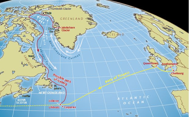 خط سیر برخورد- این نقشه مسیر شناخته شده ی تایتانیک و یک مسیر احتمالی برای کوه یخ را نشان میدهد. ما هرگز مسیر واقعی آن کوه یخ را نخواهیم دانست، ولی آنچه امروز از مسیرها و الگوهای رانش یخ های شناور می دانیم این سناریوی بسیار پذیرفتنی را پدید می آورد. اگر اثرات کشند افزوده ی چند ماه پیش از ماجرا نبود، شاید کوه یخ در ساحل لابرادور یا نیوفوندلند به گل می نشست و برای همیشه آنجا می ماند تا سرانجام آب شود.