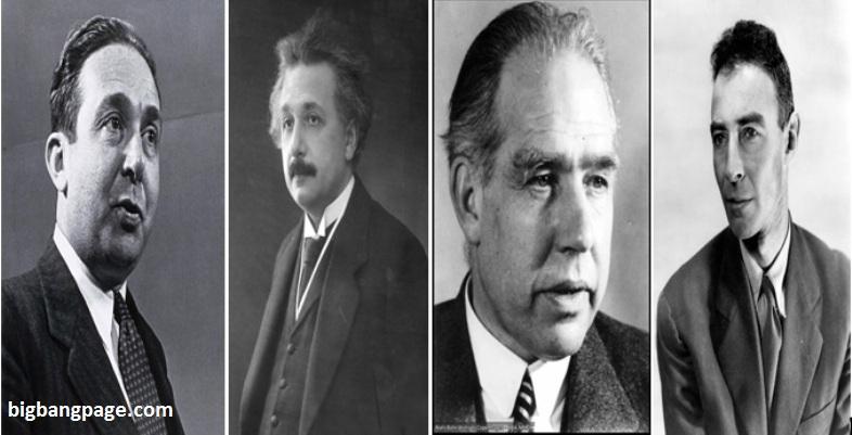 از راست به چپ: رابرت اوپنهایمر، نیلز بور، آلبرت اینشتین و لئو زیلارد