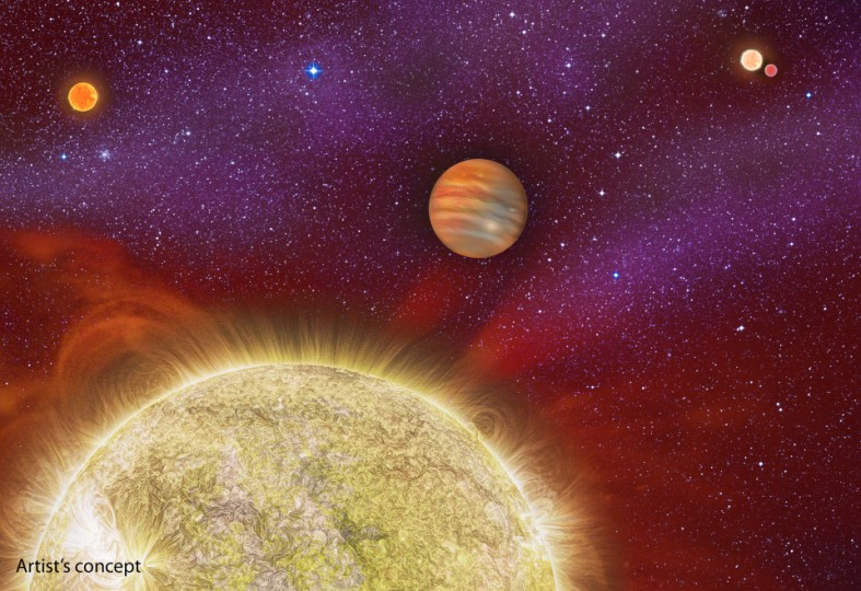 تصویری هنری از این سیستم ستاره ای به همراه سیاره غول پیکر گازی اش.