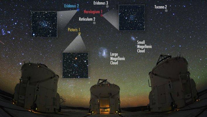 تصویری از موقعیت سه کهکشان کوتوله ی تازه کشف شده