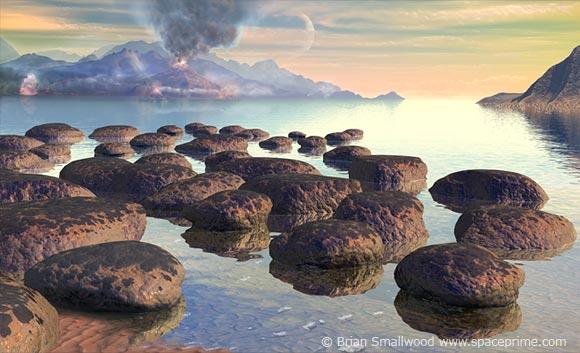 تصویری هنری از اقیانوس های باستانی زمین