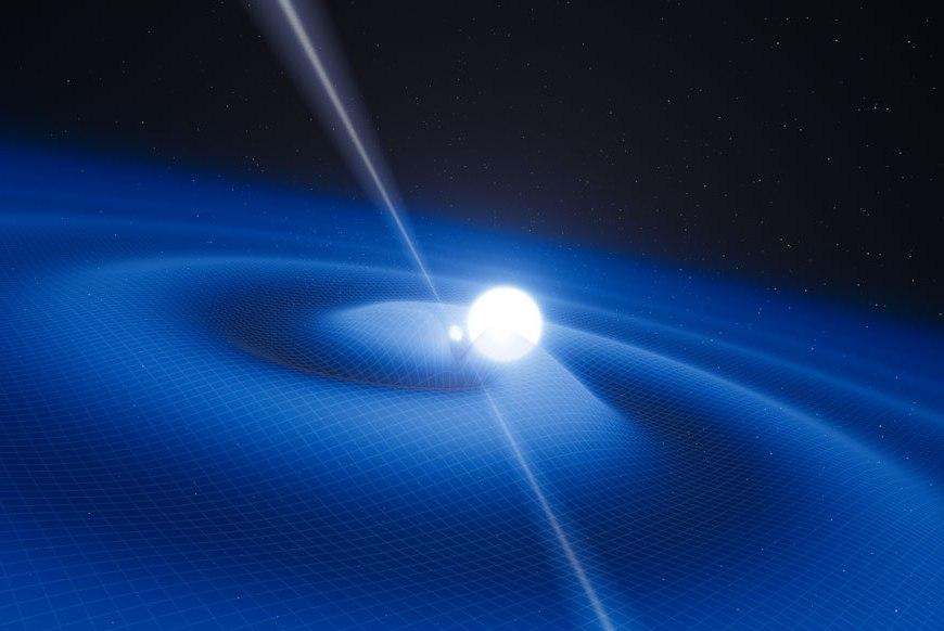 تصویری هنری از شکل گیری امواج گرانشی توسط دو ستاره