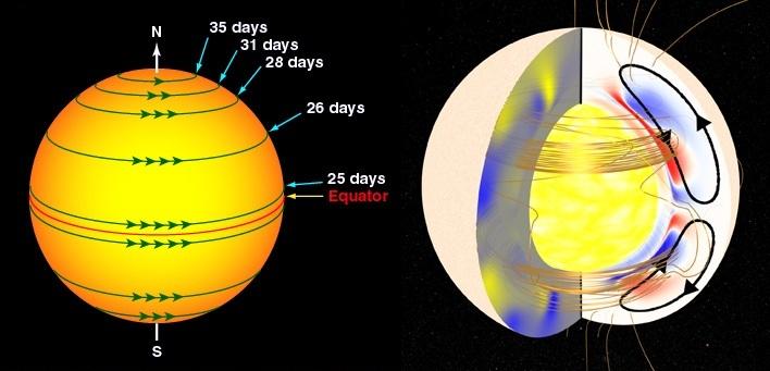 مدت جابجایی یک دوره ی چرخش گازهای سطح خورشید در نقاط مختلف این ستاره