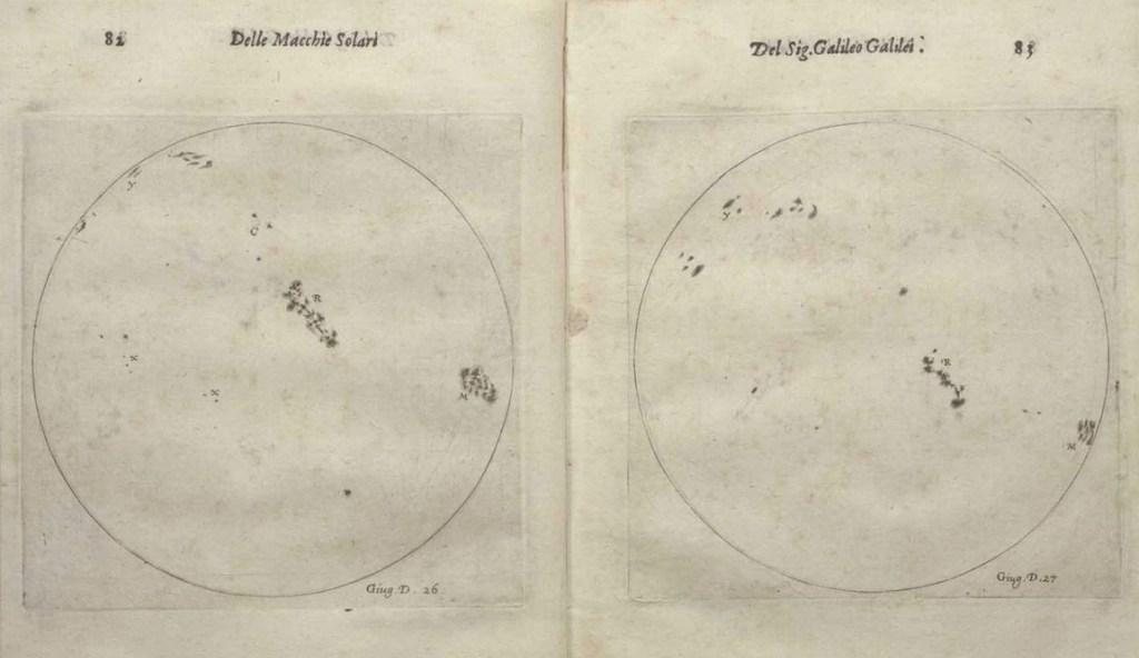 طرح هایی که گالیله از خورشید رسم کرده است.
