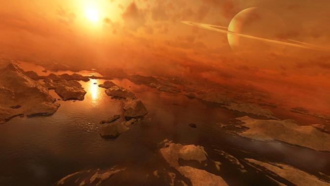 تصویری هنری از دریاچه های اتان و متان مایع در قمر تیتان